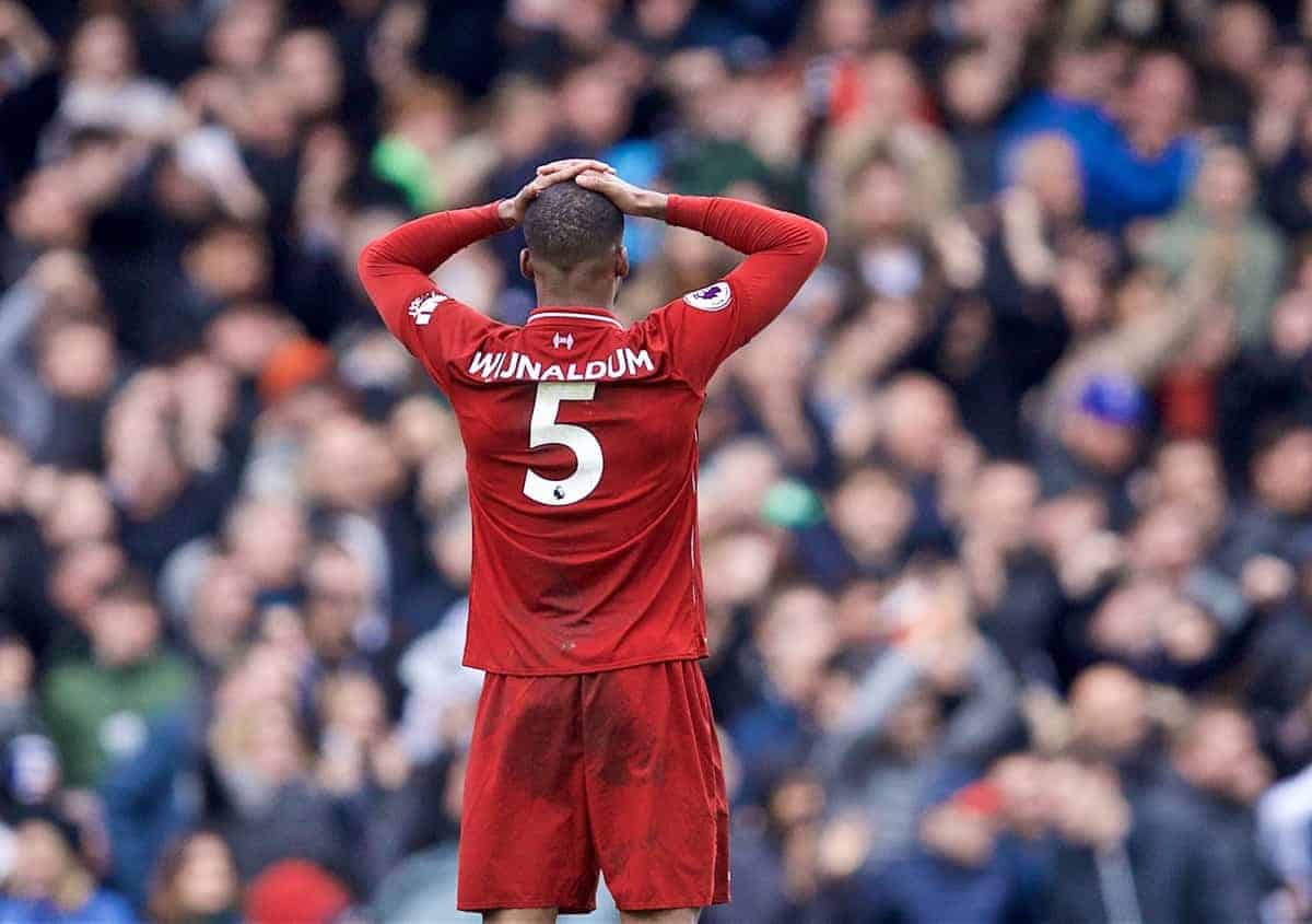 LONDON, ENGLAND - Sunday, March 17, 2019: Liverpool's Georginio Wijnaldum looks dejected after missing a chance during the FA Premier League match between Fulham FC and Liverpool FC at Craven Cottage. (Pic by David Rawcliffe/Propaganda)