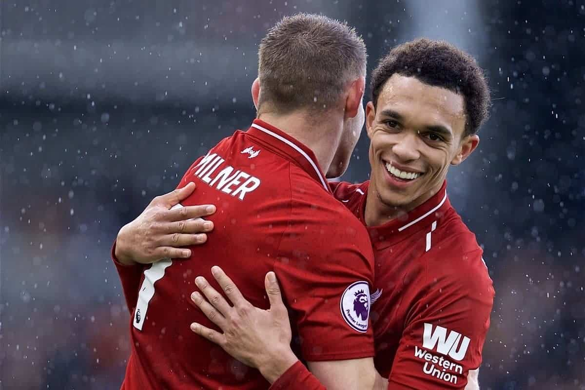 LONDON, ENGLAND - Sunday, March 17, 2019: Liverpool's captain James Milner and Trent Alexander-Arnold celebrate 2-1 victory over Fulham after the FA Premier League match between Fulham FC and Liverpool FC at Craven Cottage. (Pic by David Rawcliffe/Propaganda)