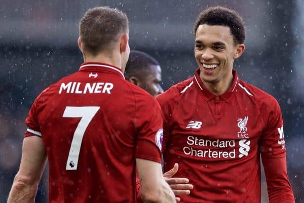LONDON, ENGLAND - Sunday, March 17, 2019: Liverpool's captain James Milner (L) and Trent Alexander-Arnold shake hands as they celebrate 2-1 victory after the FA Premier League match between Fulham FC and Liverpool FC at Craven Cottage. (Pic by David Rawcliffe/Propaganda)