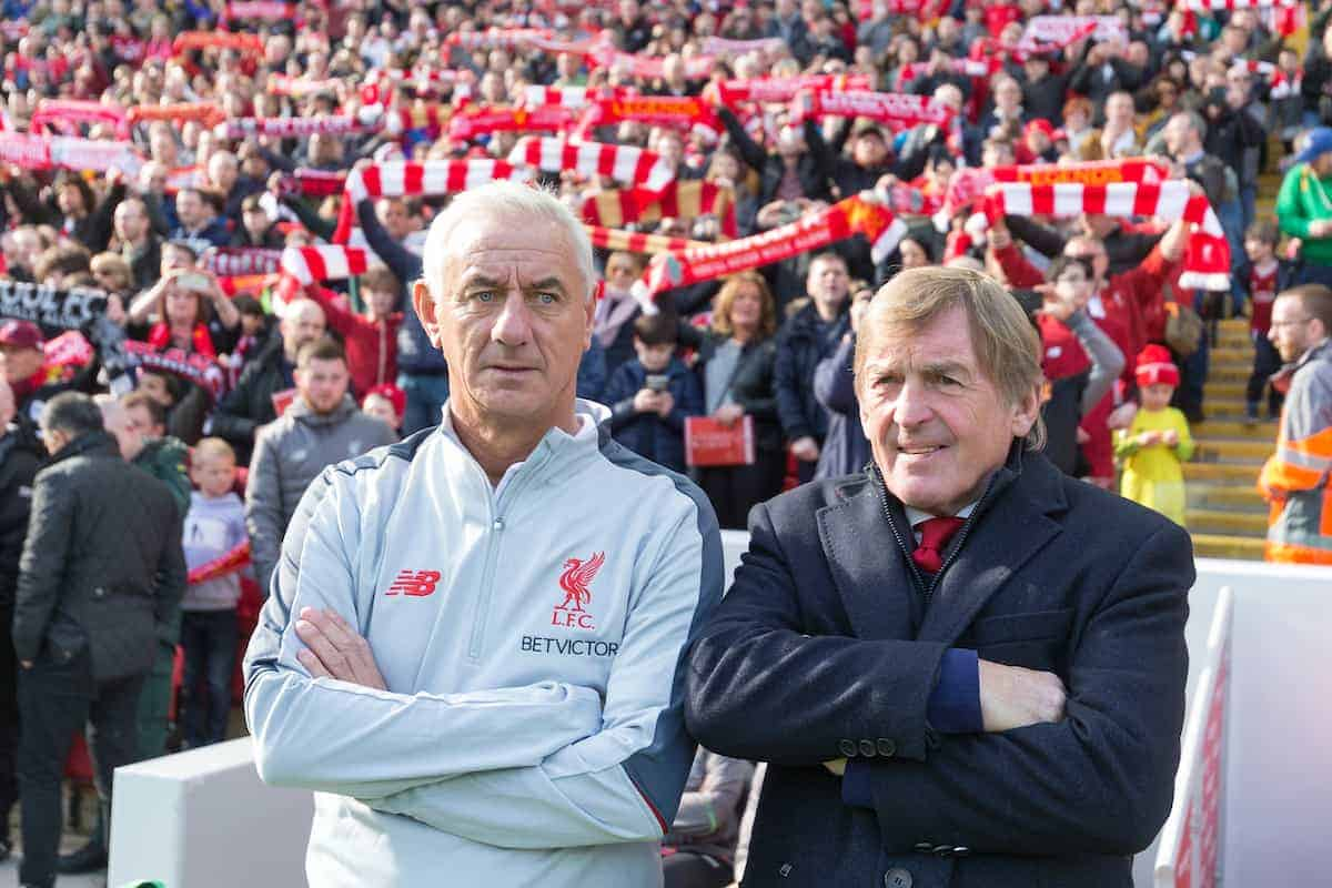 LIVERPOOL, ENGLAND - Saturday, March 23, 2019: Liverpool's assistant manager Ian Rush and manager Sir Kenny Dalglish during the LFC Foundation charity match between Liverpool FC Legends and Milan Glorie at Anfield. (Pic by Paul Greenwood/Propaganda)