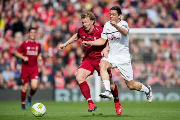 LIVERPOOL, ENGLAND - Saturday, March 23, 2019: Liverpool's Dirk Kuyt and AC Milan's Manuel Rui Costa during the LFC Foundation charity match between Liverpool FC Legends and Milan Glorie at Anfield. (Pic by Paul Greenwood/Propaganda)