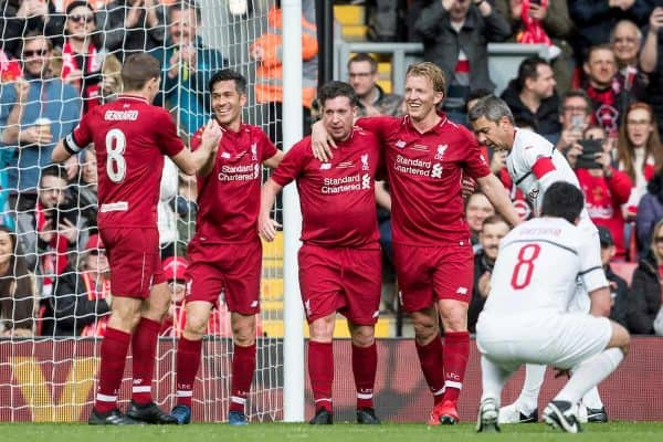 LIVERPOOL, ENGLAND - Saturday, March 23, 2019: Liverpool's Robbie Fowler celebrates scoring the opening goal to make the score 1-0 with Steven Gerrard, Luis Garcia and Dirk Kuyt during the LFC Foundation charity match between Liverpool FC Legends and Milan Glorie at Anfield. (Pic by Paul Greenwood/Propaganda)