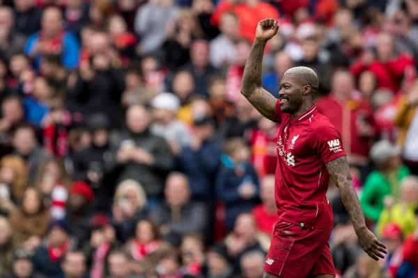 LIVERPOOL, ENGLAND - Saturday, March 23, 2019: Liverpool's Djibril Cisse celebrates scoring his goal to make the score 2-0 during the LFC Foundation charity match between Liverpool FC Legends and Milan Glorie at Anfield. (Pic by Paul Greenwood/Propaganda)
