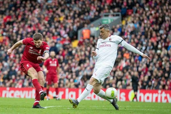LIVERPOOL, ENGLAND - Saturday, March 23, 2019: Liverpool's Steven Gerrard scores his sides third goal to make the score 3-2 during the LFC Foundation charity match between Liverpool FC Legends and Milan Glorie at Anfield. (Pic by Paul Greenwood/Propaganda)