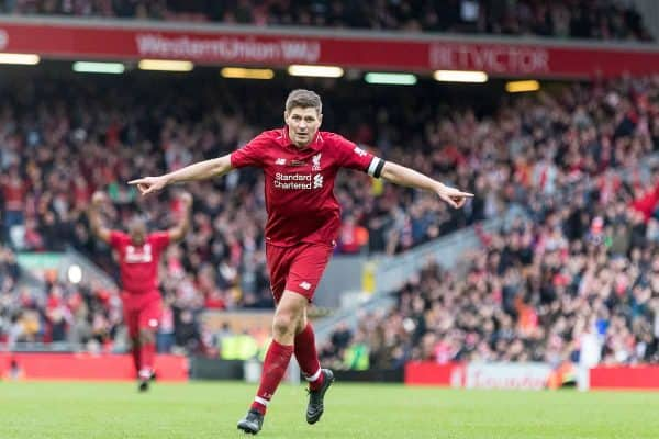 LIVERPOOL, ENGLAND - Saturday, March 23, 2019: Liverpool's Steven Gerrard celebrates scoring his sides third goal to make the score 3-2 during the LFC Foundation charity match between Liverpool FC Legends and Milan Glorie at Anfield. (Pic by Paul Greenwood/Propaganda)