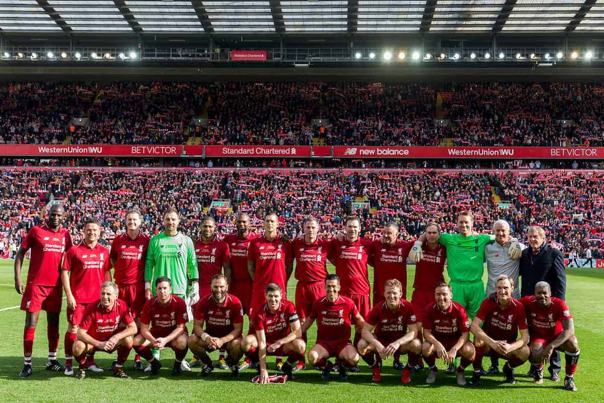 LIVERPOOL, ENGLAND - Saturday, March 23, 2019: Liverpool's LFC Legends line-up for a team group photograph before the LFC Foundation charity match between Liverpool FC Legends and Milan Glorie at Anfield. Back row L-R: Salif Diao, Michael Owen, Steve McManaman, goalkeeper Jerzy Dudek, Glen Johnson, Djimi Traore, Daniel Agger, Jamie Carragher, Bjorn Tore Kvarme, John Aldridge, goalkeeper Sander Westerveld , assistant manager Ian Rush, manager Sir Kenny Dalglish. Front row L-R: Alan Kennedy, Robbie Fowler, Patrik Berger, captain Steven Gerrard, Luis Garcia, Dirk Kuyt, Vladimir Smicer, Sami Hyypia, Djibril Cisse. (Pic by Paul Greenwood/Propaganda)
