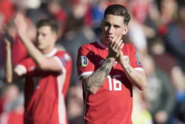 CARDIFF, WALES - Sunday, March 24, 2019: Wales' Harry Wilson applauds the crowd after the opening UEFA Euro 2020 Qualifying Group E match between Wales and Slovakia at the Cardiff City Stadium. (Pic by Laura Malkin/Propaganda)