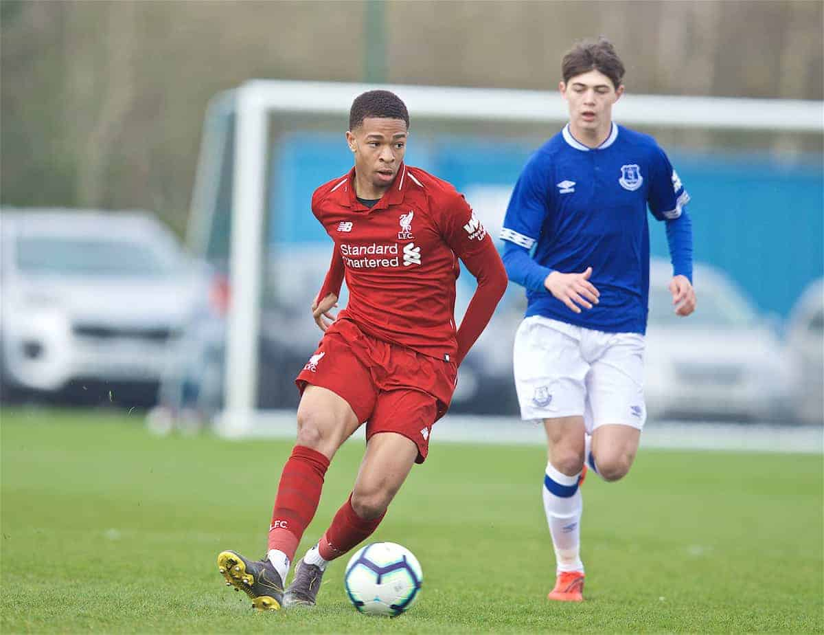 LIVERPOOL, ENGLAND - Saturday, March 30, 2019: Liverpool's Elijah Dixon-Bonner during the FA Premier League Academy match between Everton FC and Liverpool FC, the Mini-Mini Merseyside Derby, at Finch Farm. (Pic by David Rawcliffe/Propaganda)