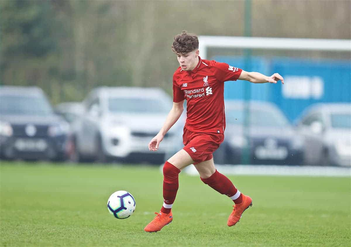 LIVERPOOL, ENGLAND - Saturday, March 30, 2019: Liverpool's Neco Williams during the FA Premier League Academy match between Everton FC and Liverpool FC, the Mini-Mini Merseyside Derby, at Finch Farm. (Pic by David Rawcliffe/Propaganda)