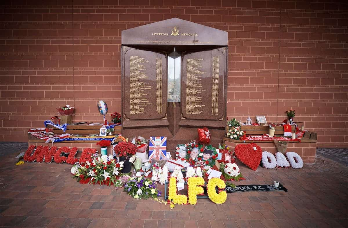 LIVERPOOL, ENGLAND - Sunday, March 31, 2019: Floral tributes left at the Hillsborough Memorial outside Anfield, April 2019 marks the 30th anniversary of the disaster that claimed the lives of 96 Liverpool supporters, pictured before the FA Premier League match between Liverpool FC and Tottenham Hotspur FC at Anfield. (Pic by David Rawcliffe/Propaganda)