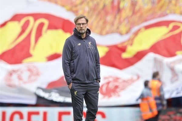 LIVERPOOL, ENGLAND - Sunday, March 31, 2019: Liverpool's manager J¸rgen Klopp during the pre-match warm-up before the FA Premier League match between Liverpool FC and Tottenham Hotspur FC at Anfield. (Pic by David Rawcliffe/Propaganda)