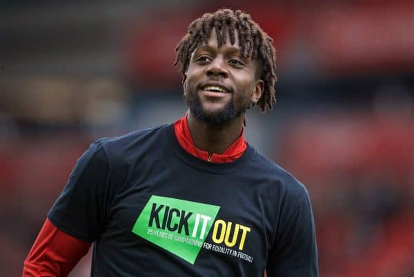 LIVERPOOL, ENGLAND - Sunday, March 31, 2019: Liverpool's Divock Origi during the pre-match warm-up before the FA Premier League match between Liverpool FC and Tottenham Hotspur FC at Anfield. (Pic by David Rawcliffe/Propaganda)