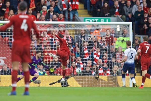LIVERPOOL, ENGLAND - Sunday, March 31, 2019: Liverpool's Roberto Firmino scores the first goal during the FA Premier League match between Liverpool FC and Tottenham Hotspur FC at Anfield. (Pic by David Rawcliffe/Propaganda)