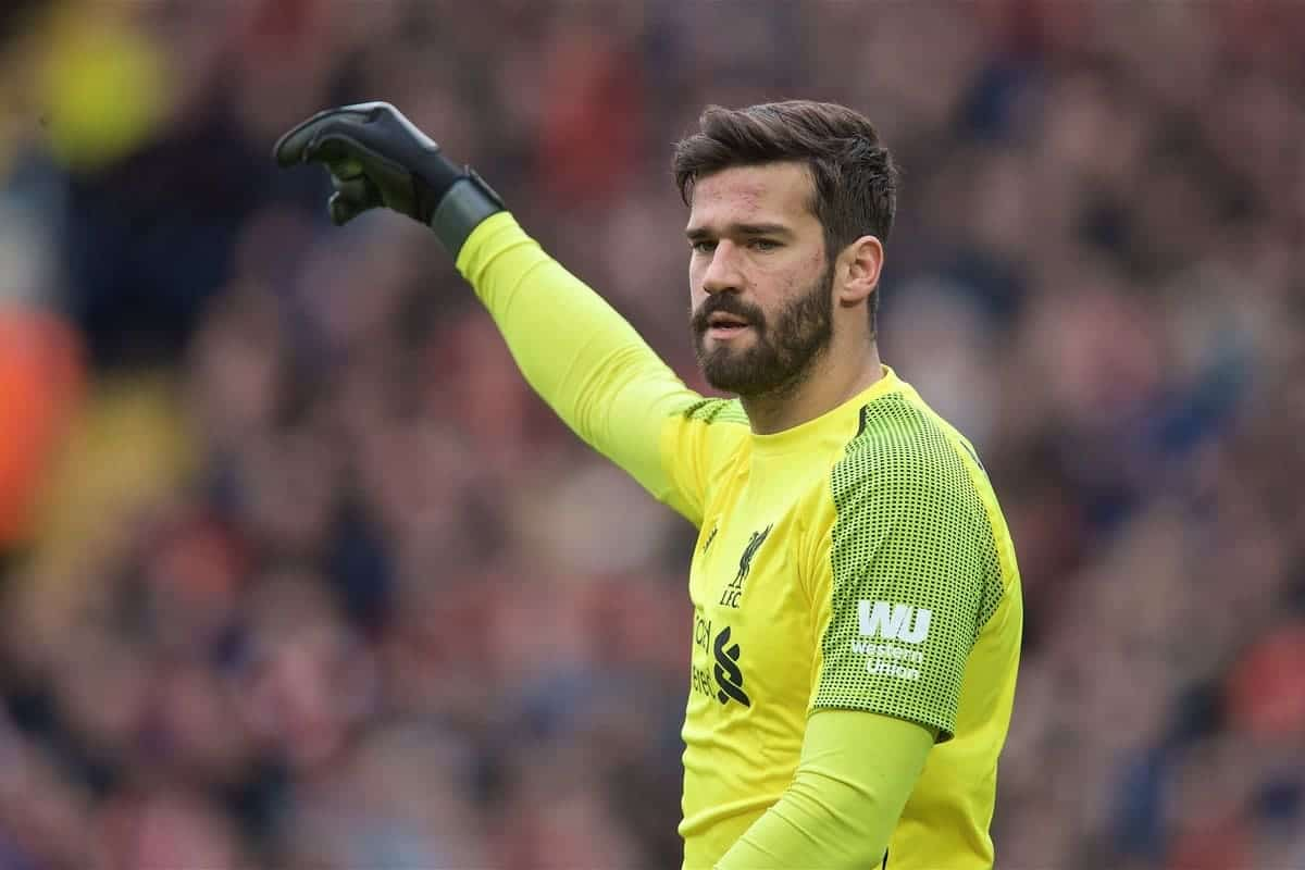 LIVERPOOL, ENGLAND - Sunday, March 31, 2019: Liverpool's goalkeeper Alisson Becker during the FA Premier League match between Liverpool FC and Tottenham Hotspur FC at Anfield. (Pic by David Rawcliffe/Propaganda)
