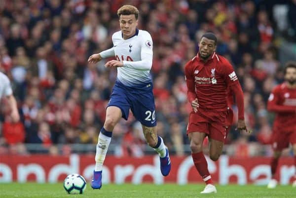 LIVERPOOL, ENGLAND - Sunday, March 31, 2019: Tottenham Hotspur's Dele Alli during the FA Premier League match between Liverpool FC and Tottenham Hotspur FC at Anfield. (Pic by David Rawcliffe/Propaganda)