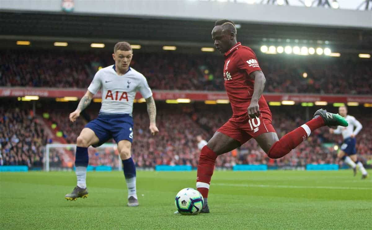 LIVERPOOL, ENGLAND - Sunday, March 31, 2019: Liverpool Sadio Mane during the FA Premier League match between Liverpool FC and Tottenham Hotspur FC at Anfield. (Pic by David Rawcliffe/Propaganda)