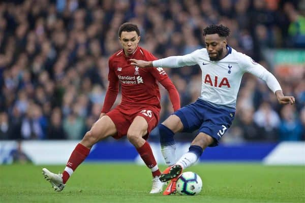 LIVERPOOL, ENGLAND - Sunday, March 31, 2019: Liverpool's Trent Alexander-Arnold (L) and Tottenham Hotspur's Danny Rose during the FA Premier League match between Liverpool FC and Tottenham Hotspur FC at Anfield. (Pic by David Rawcliffe/Propaganda)