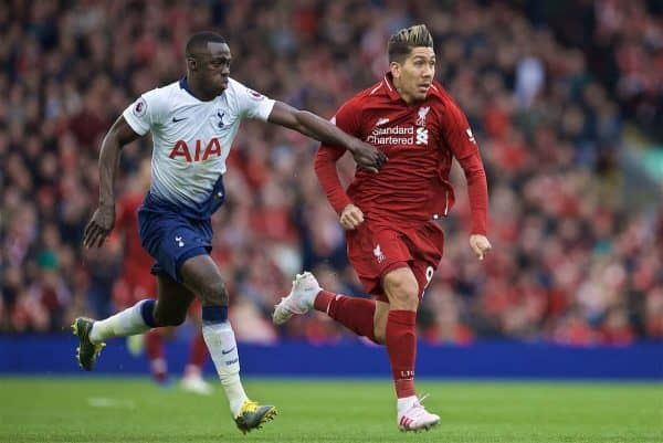 LIVERPOOL, ENGLAND - Sunday, March 31, 2019: Tottenham Hotspur's Davinson Sanchez (L) and Liverpool's Roberto Firmino during the FA Premier League match between Liverpool FC and Tottenham Hotspur FC at Anfield. (Pic by David Rawcliffe/Propaganda)