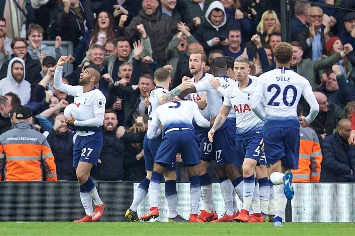 LIVERPOOL, ENGLAND - Sunday, March 31, 2019: Tottenham Hotspur's Lucas Moura celebrates scoring the first equalising goal with team-mates during the FA Premier League match between Liverpool FC and Tottenham Hotspur FC at Anfield. (Pic by David Rawcliffe/Propaganda)