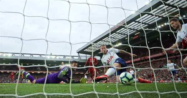 LIVERPOOL, ENGLAND - Sunday, March 31, 2019: Tottenham Hotspur's Toby Alderweireld desperately tries to avoid scoring an own-goal and handing Liverpool a late 2-1 victory during the FA Premier League match between Liverpool FC and Tottenham Hotspur FC at Anfield. (Pic by David Rawcliffe/Propaganda)