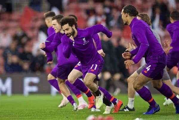 SOUTHAMPTON, ENGLAND - Friday, April 5, 2019: Liverpool's Mohamed Salah during the pre-match warm-up before the FA Premier League match between Southampton FC and Liverpool FC at the St. Mary's Stadium. (Pic by David Rawcliffe/Propaganda)