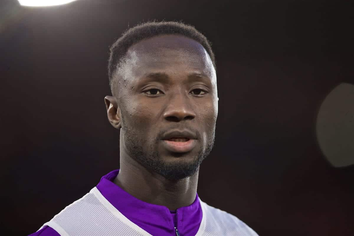SOUTHAMPTON, ENGLAND - Friday, April 5, 2019: Liverpool's Naby Keita during the pre-match warm-up before the FA Premier League match between Southampton FC and Liverpool FC at the St. Mary's Stadium. (Pic by David Rawcliffe/Propaganda)