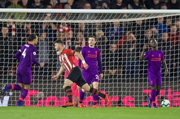 SOUTHAMPTON, ENGLAND - Friday, April 5, 2019: Southampton's Shane Long celebrates scoring the first goal during the FA Premier League match between Southampton FC and Liverpool FC at the St. Mary's Stadium. (Pic by David Rawcliffe/Propaganda)