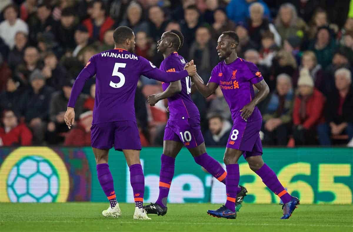 SOUTHAMPTON, ENGLAND - Friday, April 5, 2019: Liverpool's Naby Keita celebrates scoring the first equalising goal during the FA Premier League match between Southampton FC and Liverpool FC at the St. Mary's Stadium. (Pic by David Rawcliffe/Propaganda)