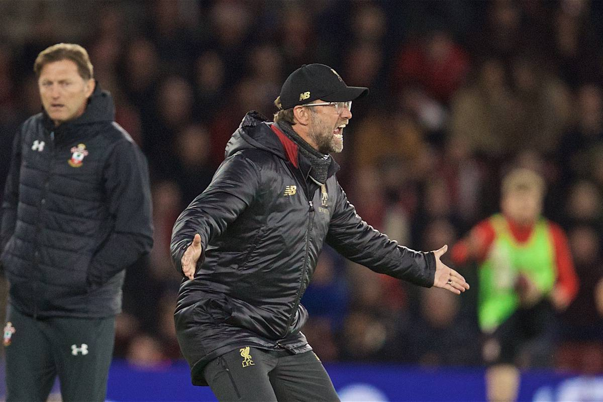 SOUTHAMPTON, ENGLAND - Friday, April 5, 2019: Liverpool's manager J¸rgen Klopp reacts during the FA Premier League match between Southampton FC and Liverpool FC at the St. Mary's Stadium. (Pic by David Rawcliffe/Propaganda)