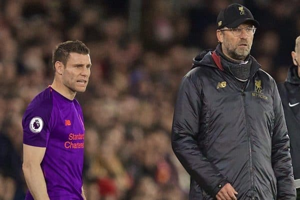 SOUTHAMPTON, ENGLAND - Friday, April 5, 2019: Liverpool's manager Jürgen Klopp prepares to bring on substitute James Milner during the FA Premier League match between Southampton FC and Liverpool FC at the St. Mary's Stadium. (Pic by David Rawcliffe/Propaganda)
