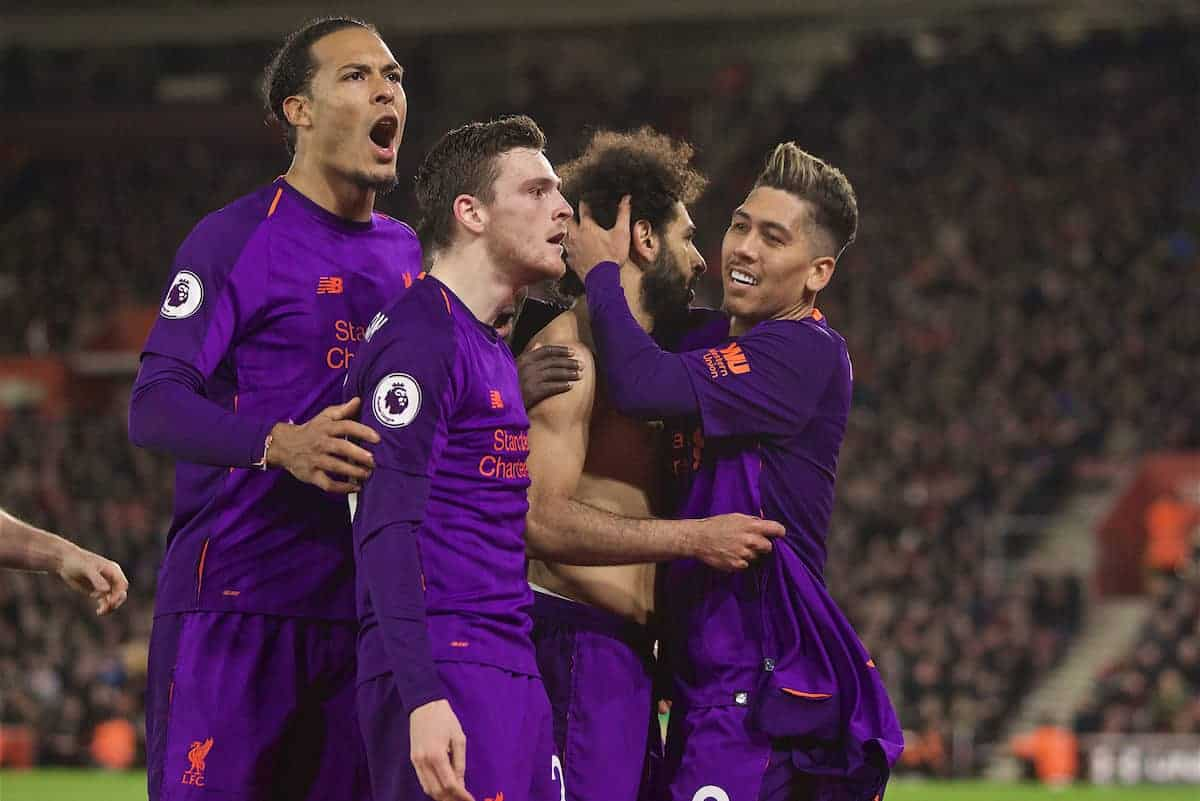 SOUTHAMPTON, ENGLAND - Friday, April 5, 2019: Liverpool's Mohamed Salah celebrates scoring the second goal with team-mates during the FA Premier League match between Southampton FC and Liverpool FC at the St. Mary's Stadium. (Pic by David Rawcliffe/Propaganda)