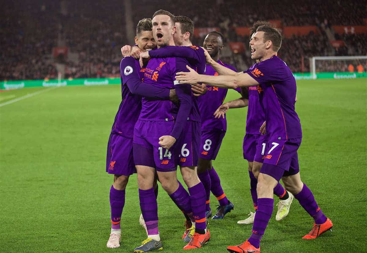 SOUTHAMPTON, ENGLAND - Friday, April 5, 2019: Liverpool's captain Jordan Henderson celebrates scoring the third goal with team-mates during the FA Premier League match between Southampton FC and Liverpool FC at the St. Mary's Stadium. (Pic by David Rawcliffe/Propaganda)