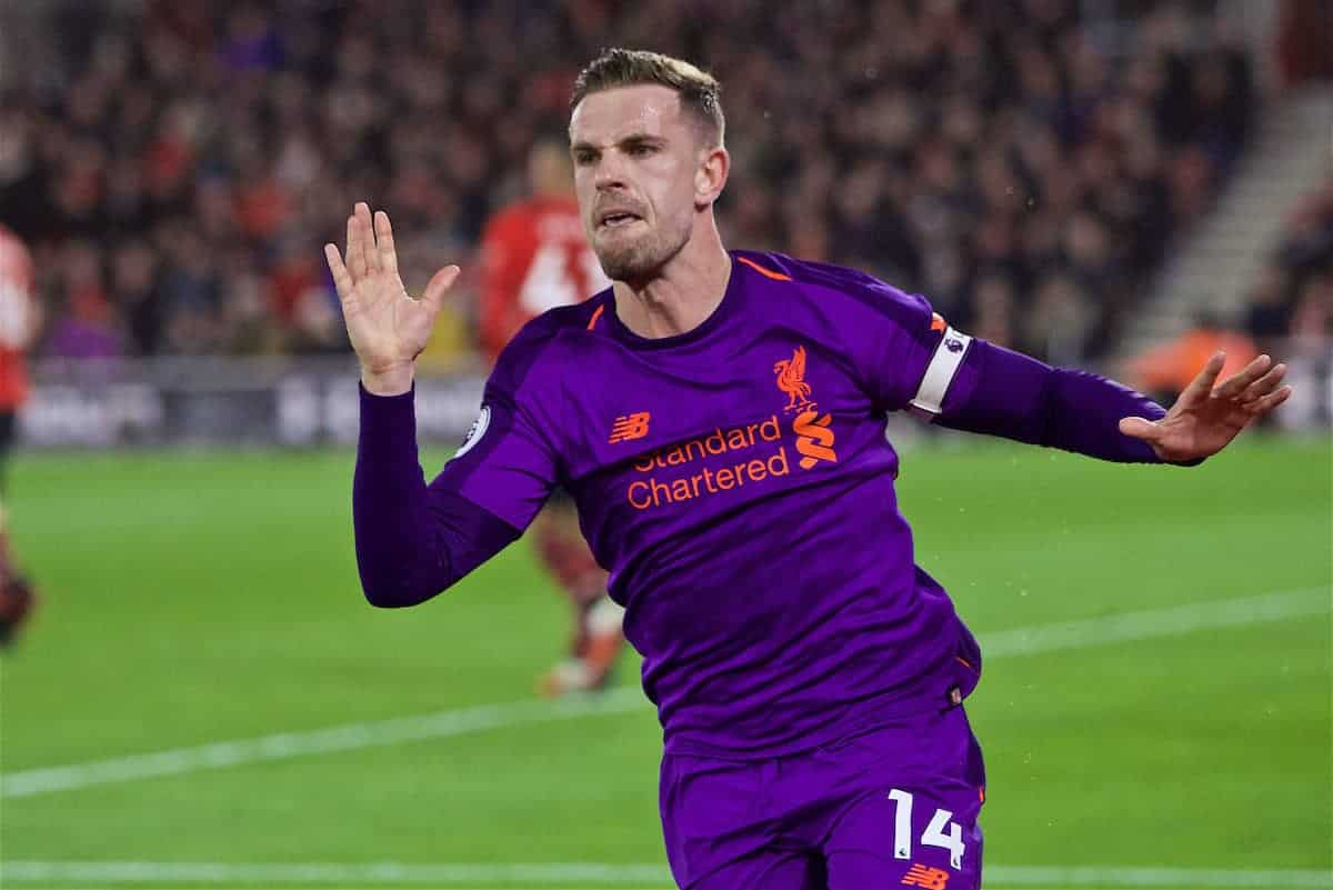 SOUTHAMPTON, ENGLAND - Friday, April 5, 2019: Liverpool's captain Jordan Henderson celebrates scoring the third goal during the FA Premier League match between Southampton FC and Liverpool FC at the St. Mary's Stadium. (Pic by David Rawcliffe/Propaganda)