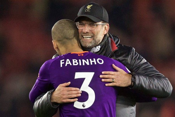SOUTHAMPTON, ENGLAND - Friday, April 5, 2019: Liverpool's manager J¸rgen Klopp embraces Fabio Henrique Tavares 'Fabinho' as he celebrates 3-1 victory over Southampton after the FA Premier League match between Southampton FC and Liverpool FC at the St. Mary's Stadium. (Pic by David Rawcliffe/Propaganda)