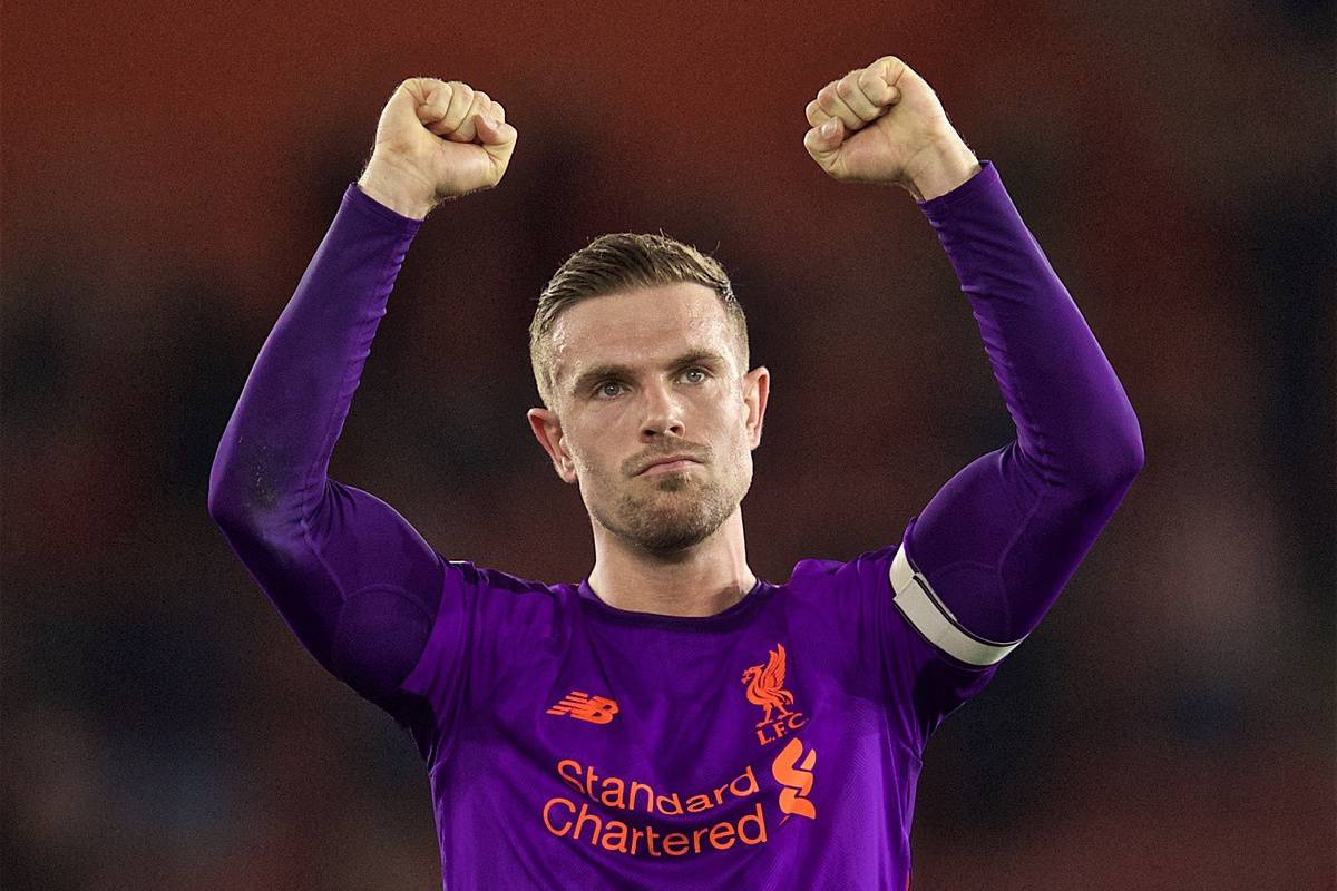 SOUTHAMPTON, ENGLAND - Friday, April 5, 2019: Liverpool's captain Jordan Henderson celebrates 3-1 victory over Southampton after the FA Premier League match between Southampton FC and Liverpool FC at the St. Mary's Stadium. (Pic by David Rawcliffe/Propaganda)