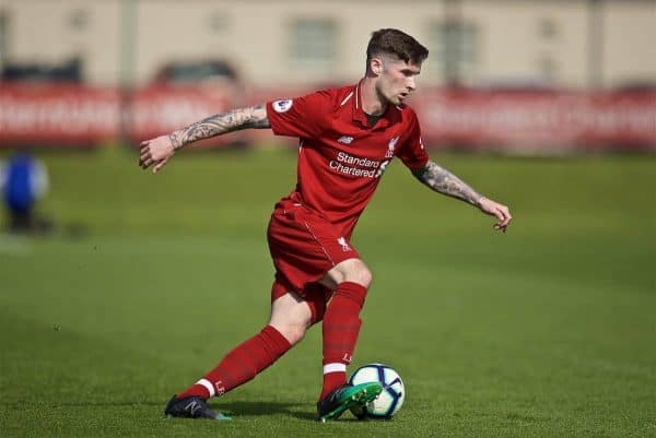 KIRKBY, ENGLAND - Saturday, April 6, 2019: Liverpool's Corey Whelan during the Under-23 FA Premier League 2 Division 1 match between Liverpool and Chelsea at the Academy. (Pic by David Rawcliffe/Propaganda)