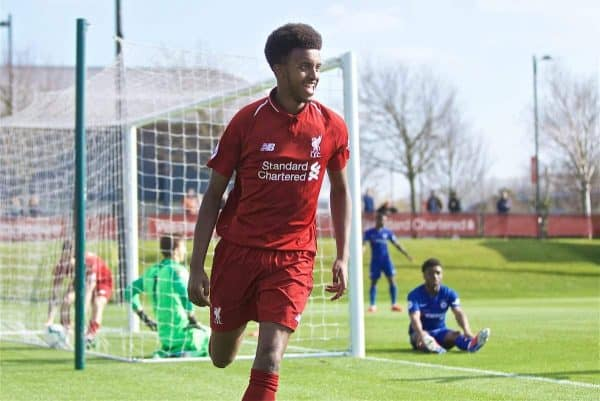KIRKBY, ENGLAND - Saturday, April 6, 2019: Liverpool's Abdulrahman Sharif celebrates scoring the second goal, to equalise the score at 2-2, during the Under-23 FA Premier League 2 Division 1 match between Liverpool and Chelsea at the Academy. (Pic by David Rawcliffe/Propaganda)