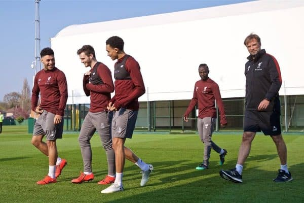 LIVERPOOL, ENGLAND - Monday, April 8, 2019: Liverpool's Alex Oxlade-Chamberlain, Andy Robertson, Trent Alexander-Arnold, Sadio Mane and manager J¸rgen Klopp during a training session at Melwood Training Ground ahead of the UEFA Champions League Quarter-Final 1st Leg match between Liverpool FC and FC Porto. (Pic by David Rawcliffe/Propaganda)