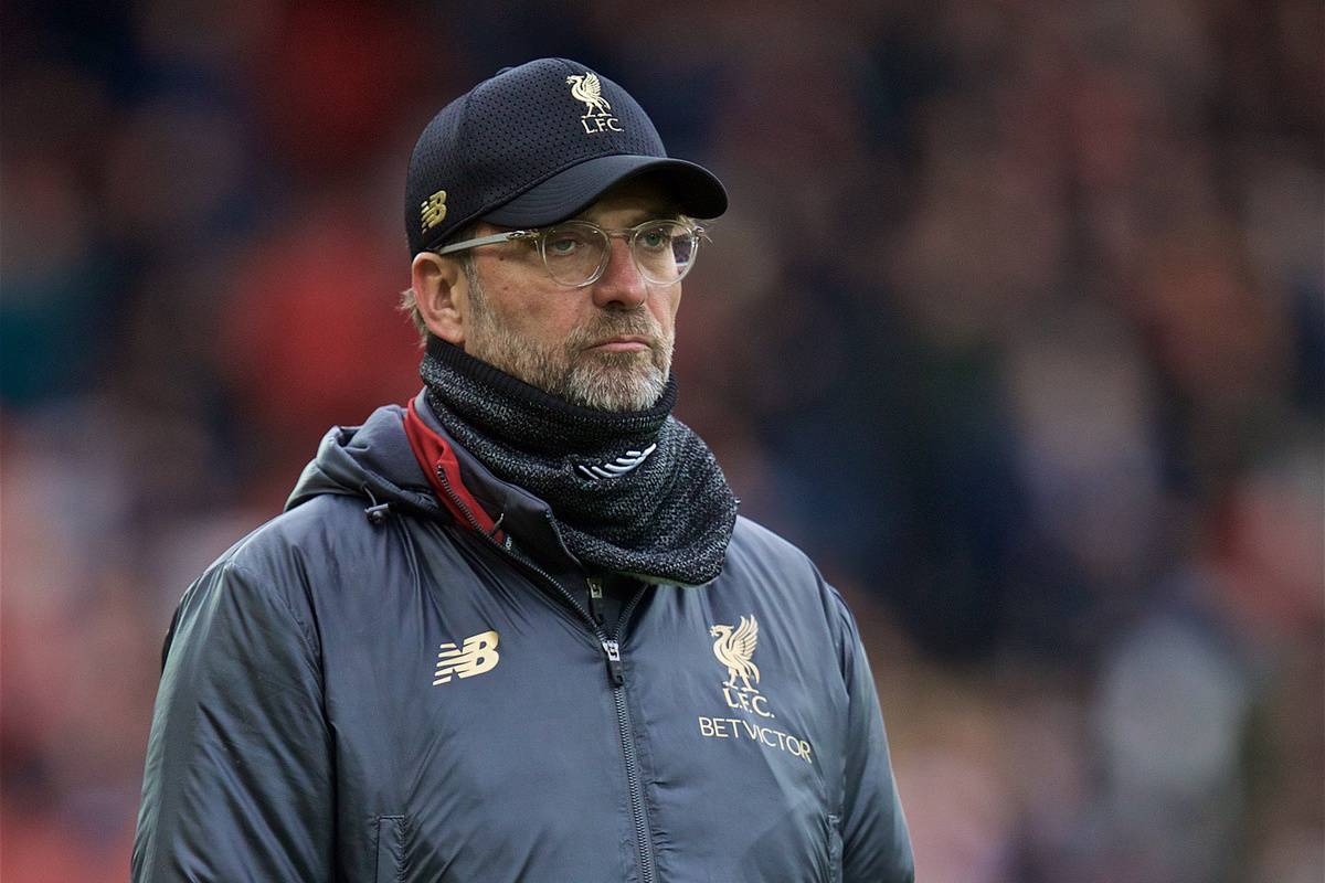 LIVERPOOL, ENGLAND - Sunday, April 14, 2019: Liverpool's manager J¸rgen Klopp before the FA Premier League match between Liverpool FC and Chelsea FC at Anfield. (Pic by David Rawcliffe/Propaganda)