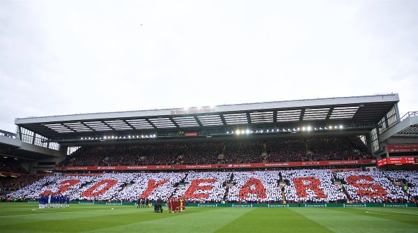 LIVERPOOL, ENGLAND - Sunday, April 14, 2019: Liverpool supporters form a mosaic to remember 30 years since the Hillsborough Stadium Disaster before the FA Premier League match between Liverpool FC and Chelsea FC at Anfield. (Pic by David Rawcliffe/Propaganda)