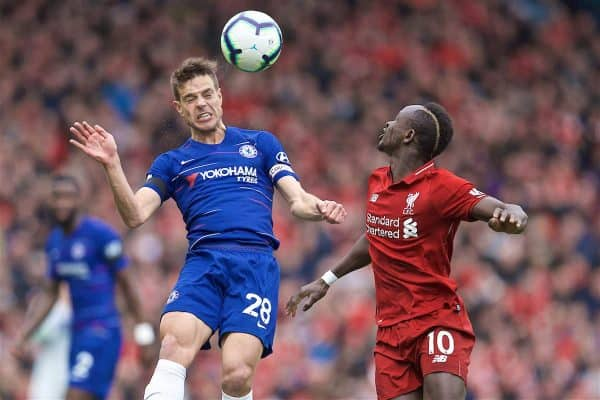 LIVERPOOL, ENGLAND - Sunday, April 14, 2019: Chelsea's Cesar Azpilicueta (L) Liverpool's Sadio Mane during the FA Premier League match between Liverpool FC and Chelsea FC at Anfield. (Pic by David Rawcliffe/Propaganda)