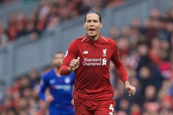 LIVERPOOL, ENGLAND - Sunday, April 14, 2019: Liverpool's Virgil van Dijk during the FA Premier League match between Liverpool FC and Chelsea FC at Anfield. (Pic by David Rawcliffe/Propaganda)
