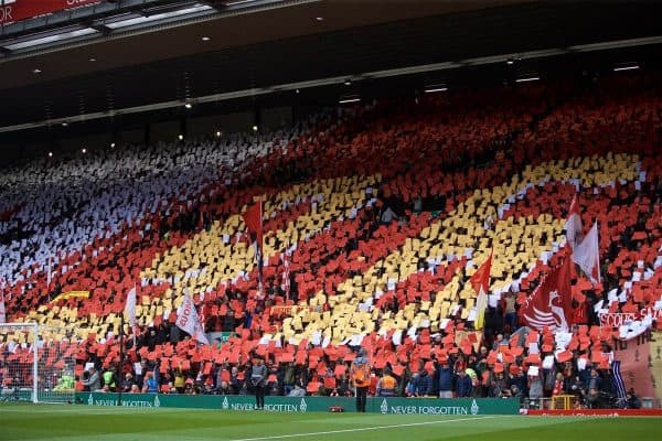 Liverpool supporters form a mosaic '96' to remember the victims of the Hillsborough Stadium Disaster during the FA Premier League match between Liverpool FC and Chelsea FC at Anfield. (Pic by David Rawcliffe/Propaganda)