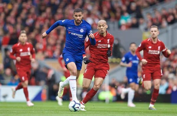 LIVERPOOL, ENGLAND - Sunday, April 14, 2019: Chelsea's Ruben Loftus-Cheek and Liverpool's Fabio Henrique Tavares 'Fabinho' (R) during the FA Premier League match between Liverpool FC and Chelsea FC at Anfield. (Pic by David Rawcliffe/Propaganda)