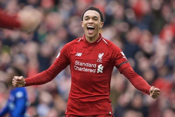 LIVERPOOL, ENGLAND - Sunday, April 14, 2019: Liverpool's Trent Alexander-Arnold celebrates his side's first goal during the FA Premier League match between Liverpool FC and Chelsea FC at Anfield. (Pic by David Rawcliffe/Propaganda)
