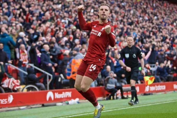 LIVERPOOL, ENGLAND - Sunday, April 14, 2019: Liverpool's captain Jordan Henderson celebrates his side's first goal during the FA Premier League match between Liverpool FC and Chelsea FC at Anfield. (Pic by David Rawcliffe/Propaganda)