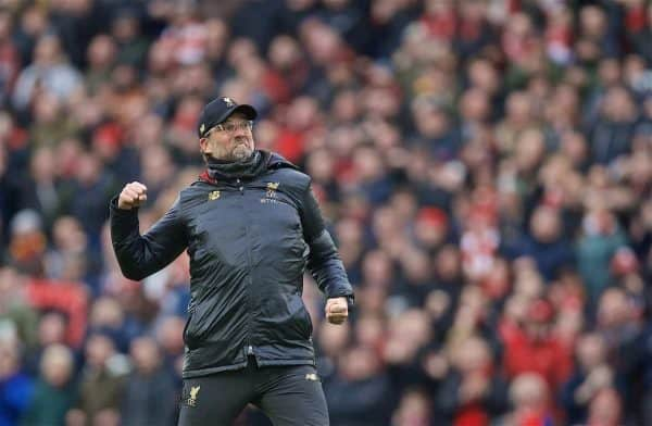 LIVERPOOL, ENGLAND - Sunday, April 14, 2019: Liverpool's manager Jürgen Klopp celebrates after the 2-0 victory over Chelsea during the FA Premier League match between Liverpool FC and Chelsea FC at Anfield. (Pic by David Rawcliffe/Propaganda)
