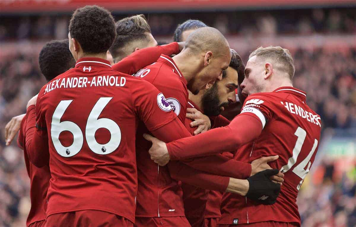 LIVERPOOL, ENGLAND - Sunday, April 14, 2019: Liverpool's Mohamed Salah (2nd from R) celebrates scoring the second goal with team-mates during the FA Premier League match between Liverpool FC and Chelsea FC at Anfield. (Pic by David Rawcliffe/Propaganda)