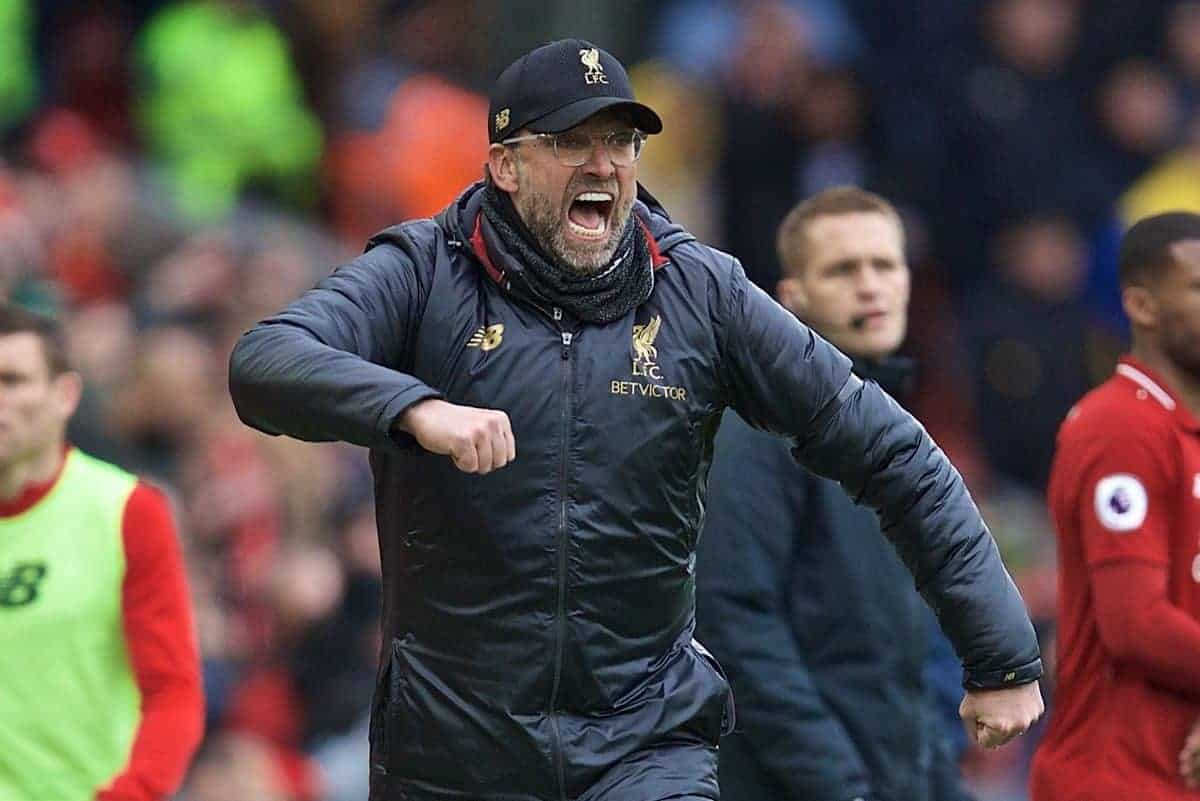 LIVERPOOL, ENGLAND - Sunday, April 14, 2019: Liverpool's manager J¸rgen Klopp reacts during the FA Premier League match between Liverpool FC and Chelsea FC at Anfield. (Pic by David Rawcliffe/Propaganda)