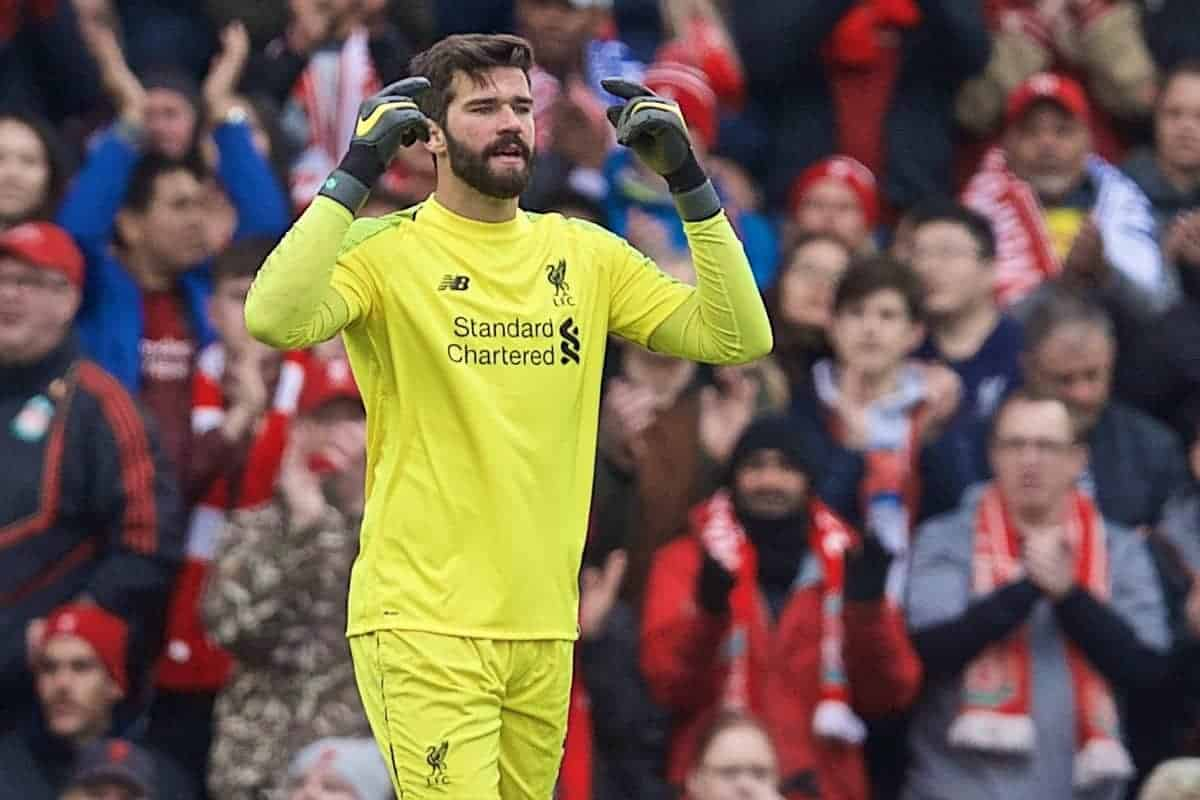 LIVERPOOL, ENGLAND - Sunday, April 14, 2019: Liverpool's goalkeeper Alisson Becker during the FA Premier League match between Liverpool FC and Chelsea FC at Anfield. (Pic by David Rawcliffe/Propaganda)